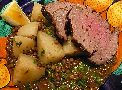 Beef fillet with lentils and potato