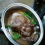 5. But before the lid is sealed shut add the wine and stock