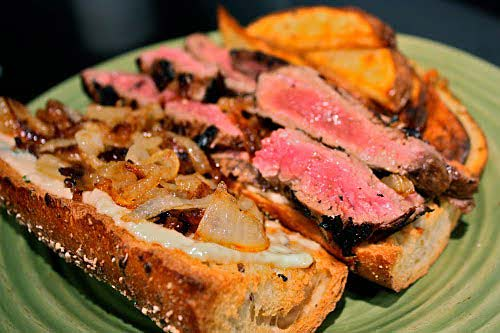 Skirt Steak: 5 Different Ways: #1 – Skirt Steak Sandwiches with Garlic/Basil Mayo and Caramelized Onions