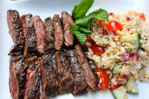 #3 – Grilled skirt steak with orzo pasta salad