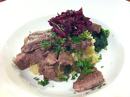 Rump steak with beetroot salsa, and kumara parsnip mash
