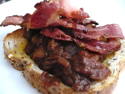 Bacon with home-made baked beans