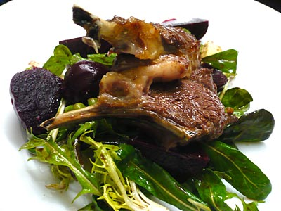 Roasted lamb rack with beetroot and feta salad